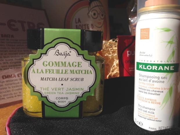 La Boîte d'Hortense - Shampoing sec Klorane et Gommage au thé Matcha Baïja